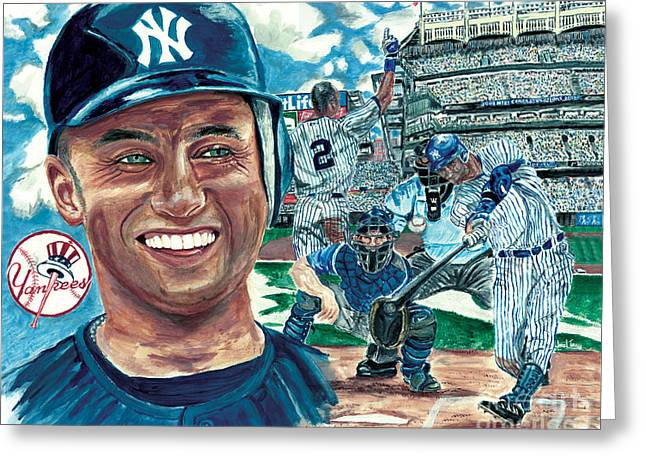 Babe Ruth Posters Greeting Cards - Derek Jeter 3000 Hit Greeting Card by Israel Torres