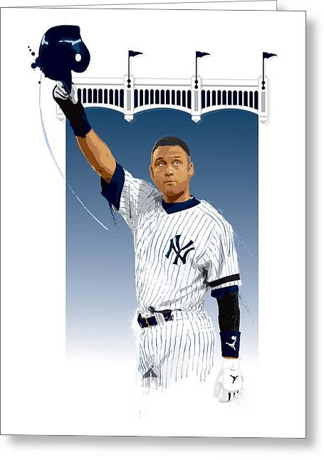 Baseball All Stars Greeting Cards - Derek Jeter 3000 Hits Greeting Card by Scott Weigner
