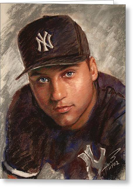 Sports Drawings Greeting Cards - Derek Jeter Greeting Card by Viola El