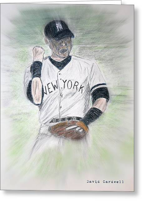 Fist Pump Greeting Cards - Derek Jeter Greeting Card by David Cardwell