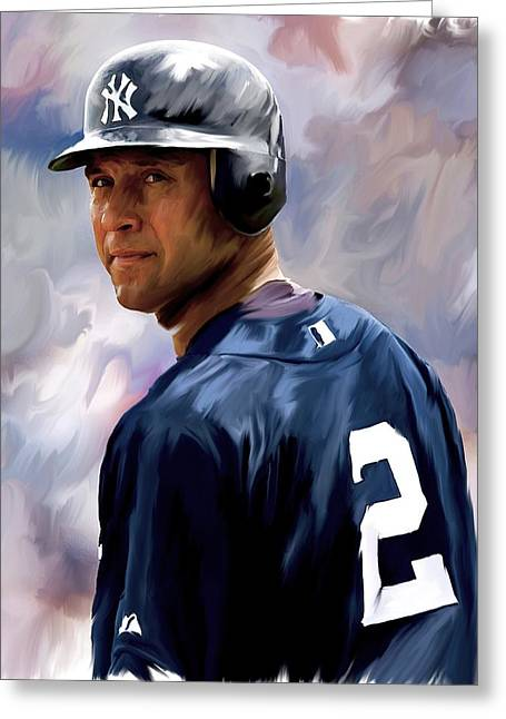 Main Street Drawings Greeting Cards - Derek Jeter III Greeting Card by Iconic Images Art Gallery David Pucciarelli