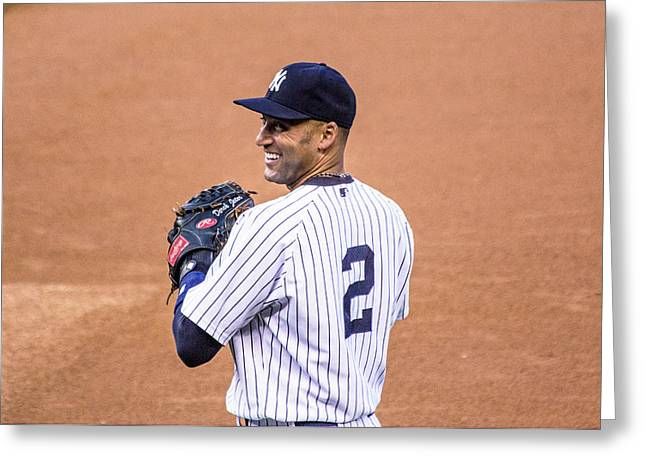 Baseball Pyrography Greeting Cards - Derek Jeter  Greeting Card by James Jenks