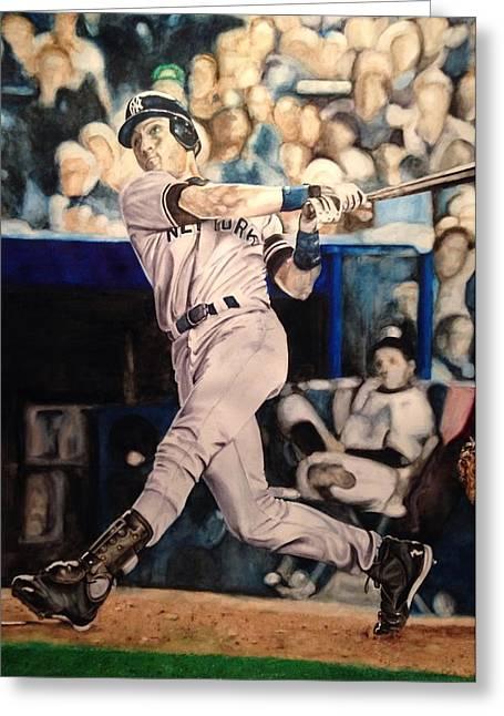 Baseball Paintings Greeting Cards - Derek Jeter Greeting Card by Lance Gebhardt
