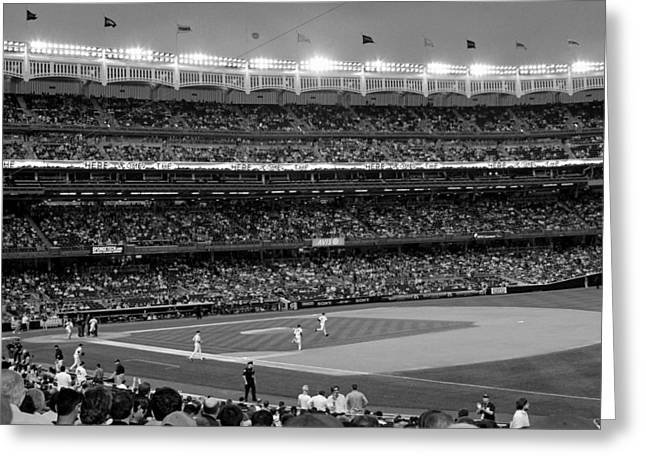 Derek Jeter Leads The Way As The Yankees Take The Field In Black And White Greeting Card by Aurelio Zucco