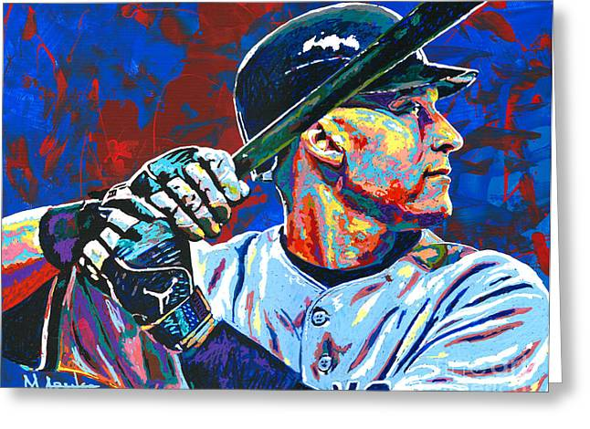 Hitting Greeting Cards - Derek Jeter Greeting Card by Maria Arango