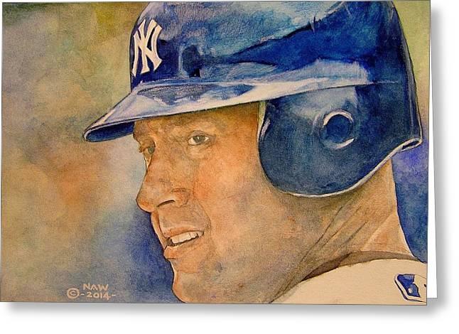 Yankees Shortstop Greeting Cards - Derek Jeter Greeting Card by Nigel Wynter
