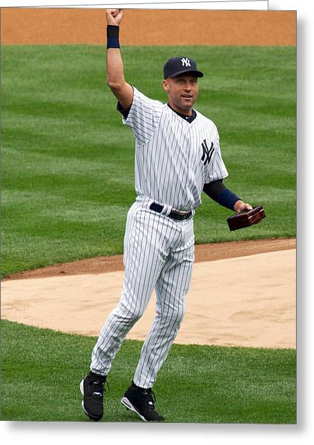 Yankees Shortstop Greeting Cards - Derek Jeter Greeting Card by Nomad Art And  Design