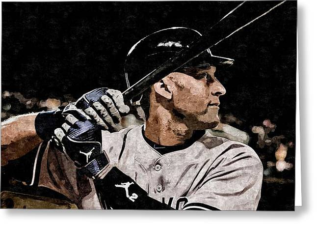 Derek Jeter On Canvas Greeting Card by Florian Rodarte