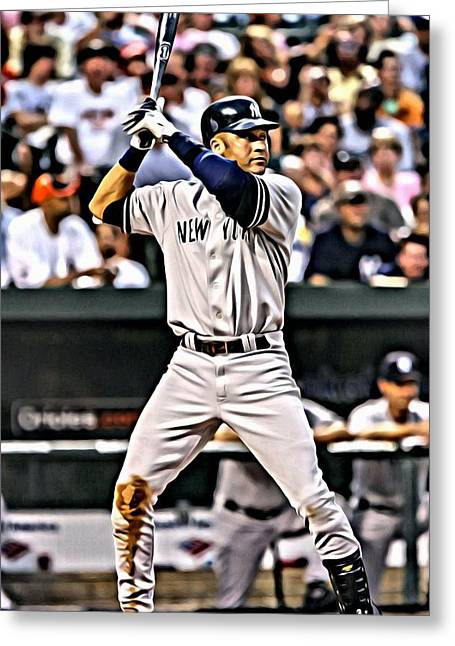 Derek Jeter Painting Greeting Card by Florian Rodarte