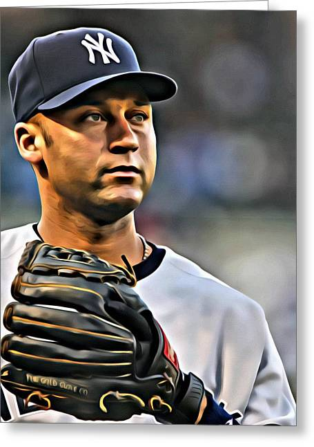 Derek Jeter Portrait Greeting Card by Florian Rodarte