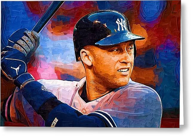 Baseball Paintings Greeting Cards - Derek Jeter Greeting Card by Victor Gladkiy