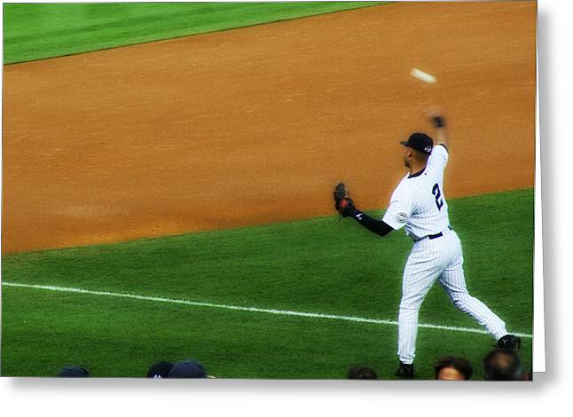 Baseball Stadiums Greeting Cards - Derek Jeter Warming Up Before A Game - Full Color Greeting Card by Aurelio Zucco