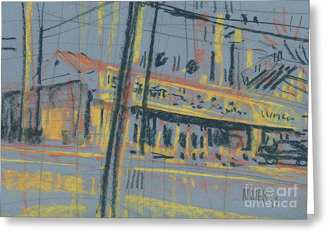 Roadway Pastels Greeting Cards - Dereks Lunch Greeting Card by Donald Maier