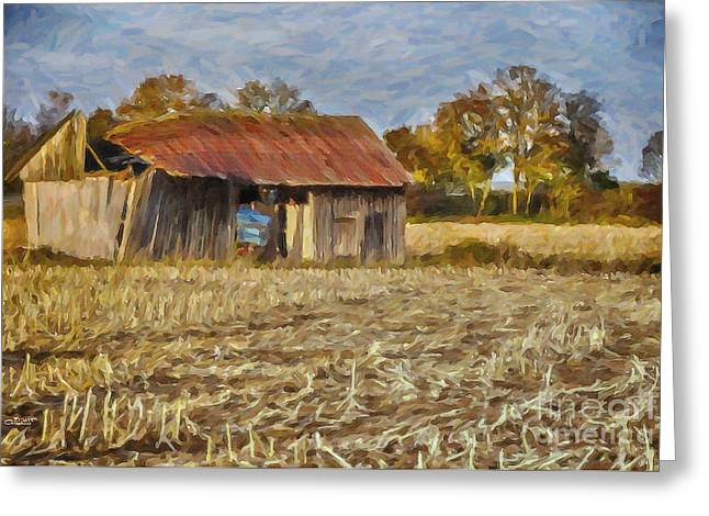 Cornfield Digital Art Greeting Cards - Derelict Barn Greeting Card by Jutta Maria Pusl