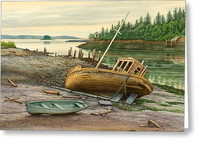 Maine Coast Greeting Cards - Derelict Boat Greeting Card by Paul Krapf