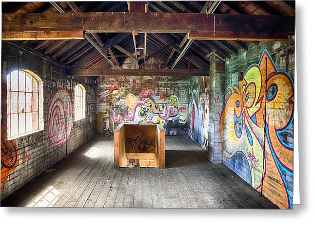Atmospheric Greeting Cards - Derelict building with colourful graffiti Greeting Card by Russ Dixon