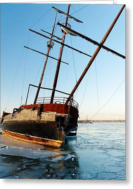 Derelict Faux Tall Ship Greeting Card by Trever Miller