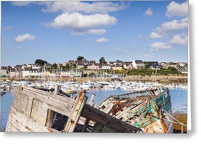 Old Fishing Boat Greeting Cards - Derelict Fishing Boats Camaret sur Mer Brittany Greeting Card by Colin and Linda McKie
