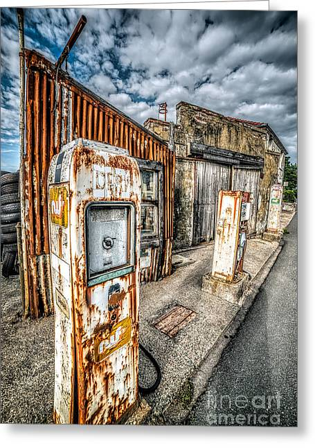 Kerb Greeting Cards - Derelict Gas Station Greeting Card by Adrian Evans