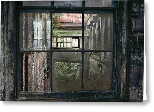 Atmospheric Greeting Cards - Derelict industrial windows Greeting Card by Russ Dixon
