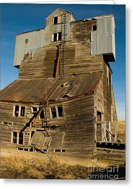 Geobob Greeting Cards - Derelict old Grain Elevator near Pullman Washington Greeting Card by Robert Ford