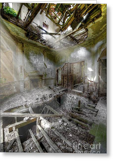 Creepy Digital Art Greeting Cards - Derelict Room Greeting Card by Svetlana Sewell