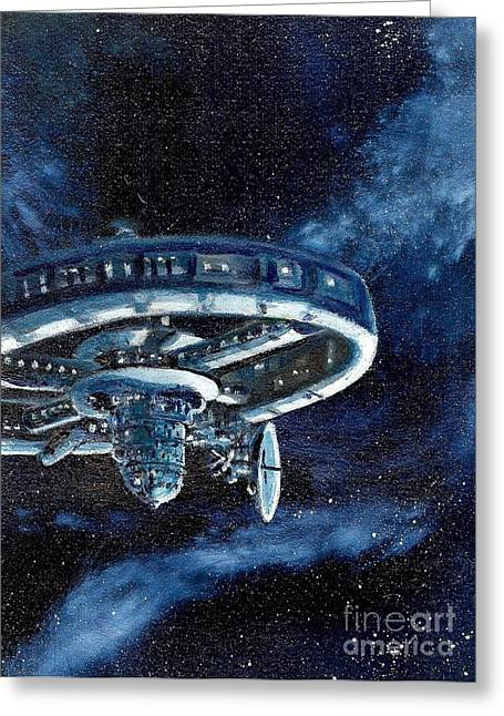Cosmic Paintings Greeting Cards - Derelict Spacstation Greeting Card by Murphy Elliott