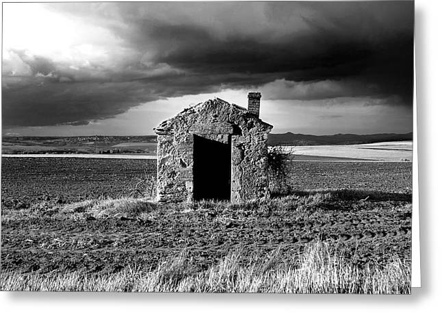 Run Down Greeting Cards - Derelict stone shed in  Auvergne. France Greeting Card by Bernard Jaubert