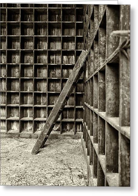 Atmospheric Greeting Cards - Derelict wooden storage area Greeting Card by Russ Dixon