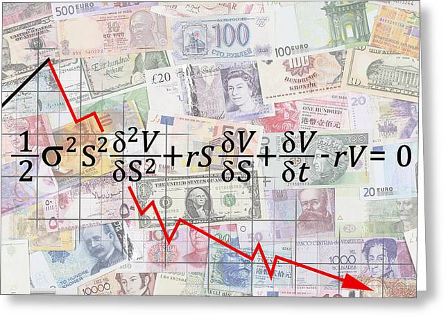 Financial Crisis Greeting Cards - Derivatives Financial Debacle - Black Scholes Equation Greeting Card by Daniel Hagerman