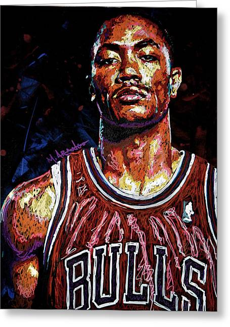 Hoop Greeting Cards - Derrick Rose-2 Greeting Card by Maria Arango