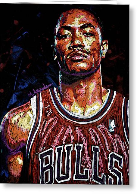Basketball Paintings Greeting Cards - Derrick Rose-2 Greeting Card by Maria Arango
