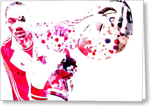 Mj Digital Greeting Cards - Derrick Rose Greeting Card by Brian Reaves