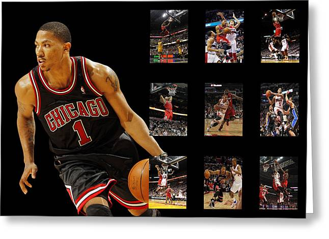 Dunks Greeting Cards - Derrick Rose Greeting Card by Joe Hamilton