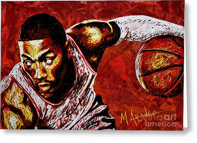 Basketball Paintings Greeting Cards - Derrick Rose Greeting Card by Maria Arango