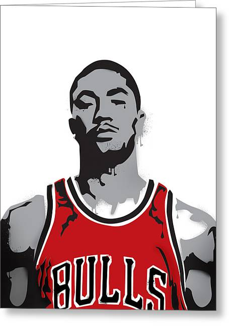 Stencil Spray Greeting Cards - Derrick Rose Greeting Card by Mike Maher