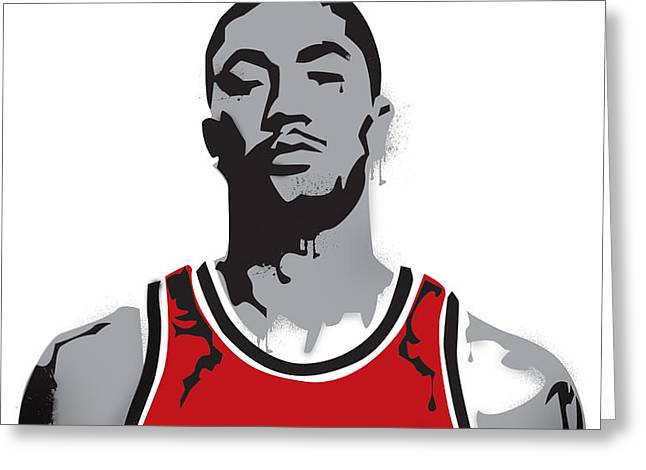 Derrick Rose Greeting Card by Mike Maher