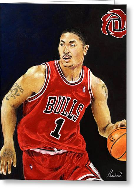 Basketball Pastels Greeting Cards - Derrick Rose Pastel Portrait - Chicago Bulls Greeting Card by Prashant Shah
