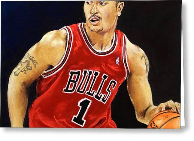 Derrick Rose Pastel Portrait - Chicago Bulls Greeting Card by Prashant Shah