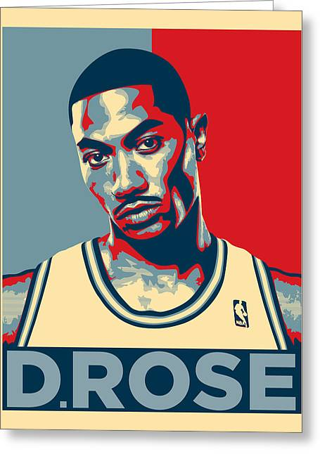 Chicago Bulls Greeting Cards - Derrick Rose Greeting Card by Taylan Soyturk