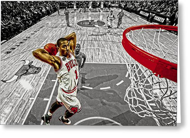 Recently Sold -  - Dunk Greeting Cards - Derrick Rose Took Flight Greeting Card by Brian Reaves