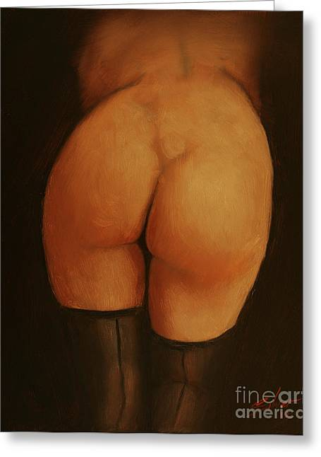 Sepia Chalk Greeting Cards - Derriere Greeting Card by John Silver