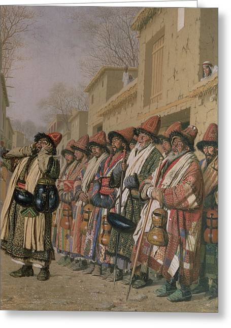 Central Asia Greeting Cards - Dervishes Chorus Begging Alms In Tashkent, 1870 Oil On Canvas Greeting Card by Piotr Petrovitch Weretshchagin