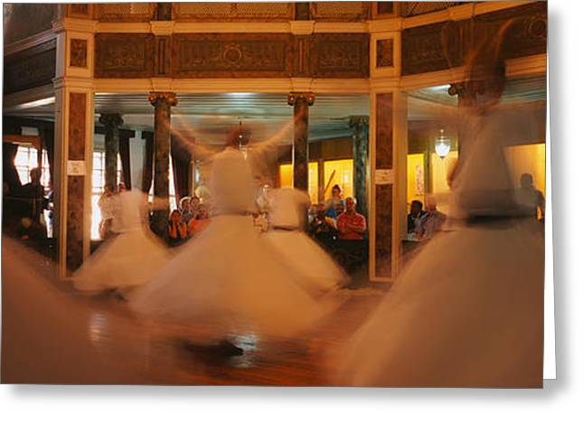 Arts Culture And Entertainment Greeting Cards - Dervishes Dancing At A Ceremony Greeting Card by Panoramic Images