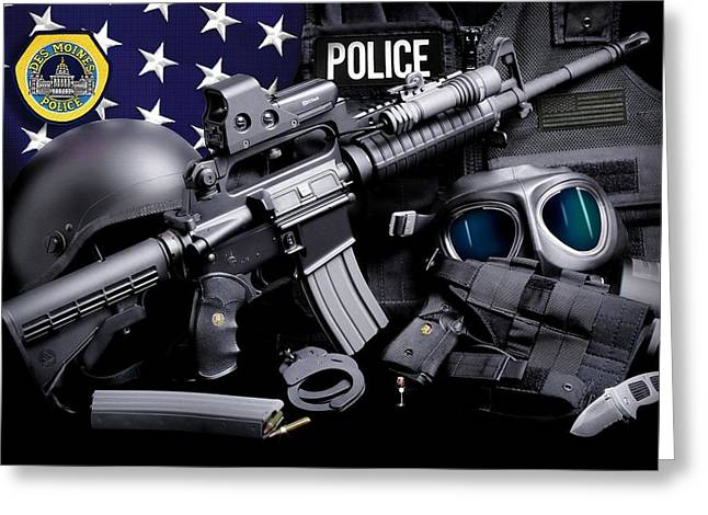 Des Moines Greeting Cards - Des Moines Police Greeting Card by Gary Yost