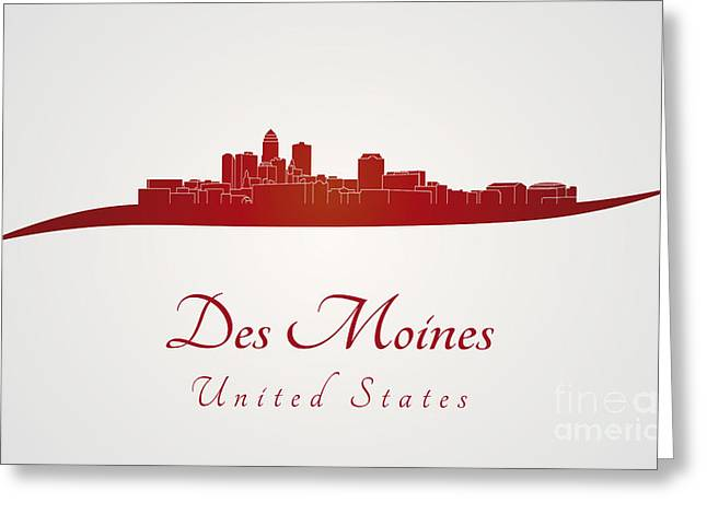 Des Moines Greeting Cards - Des Moines skyline in red Greeting Card by Pablo Romero