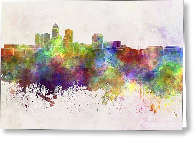 Des Moines Greeting Cards - Des Moines skyline in watercolor background Greeting Card by Pablo Romero