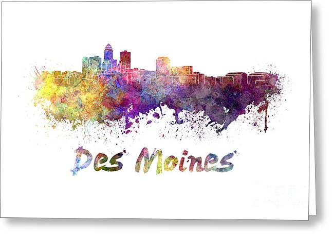 Des Moines Greeting Cards - Des Moines skyline in watercolor Greeting Card by Pablo Romero