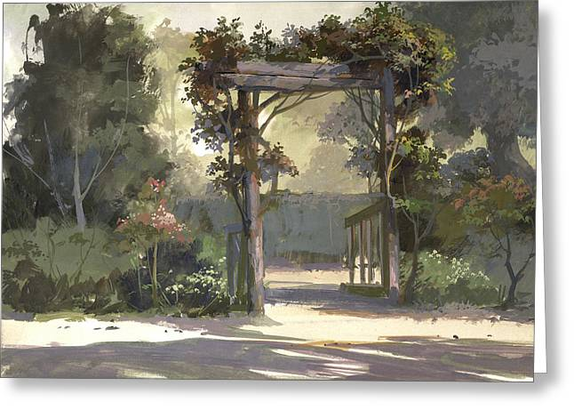 Trellis Paintings Greeting Cards - Descanso Gardens Greeting Card by Michael Humphries