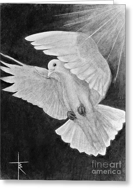 Dove Drawings Greeting Cards - Descending Dove  Greeting Card by Travis Ricks